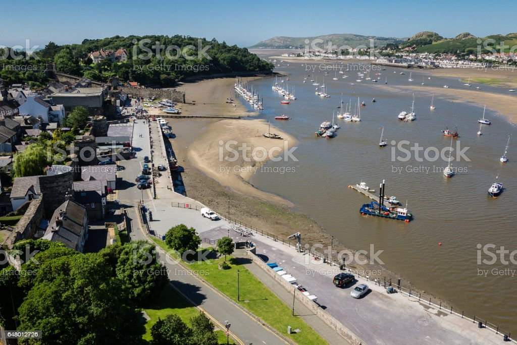 View on Conwy harbor and river from the medieval castle stock photo