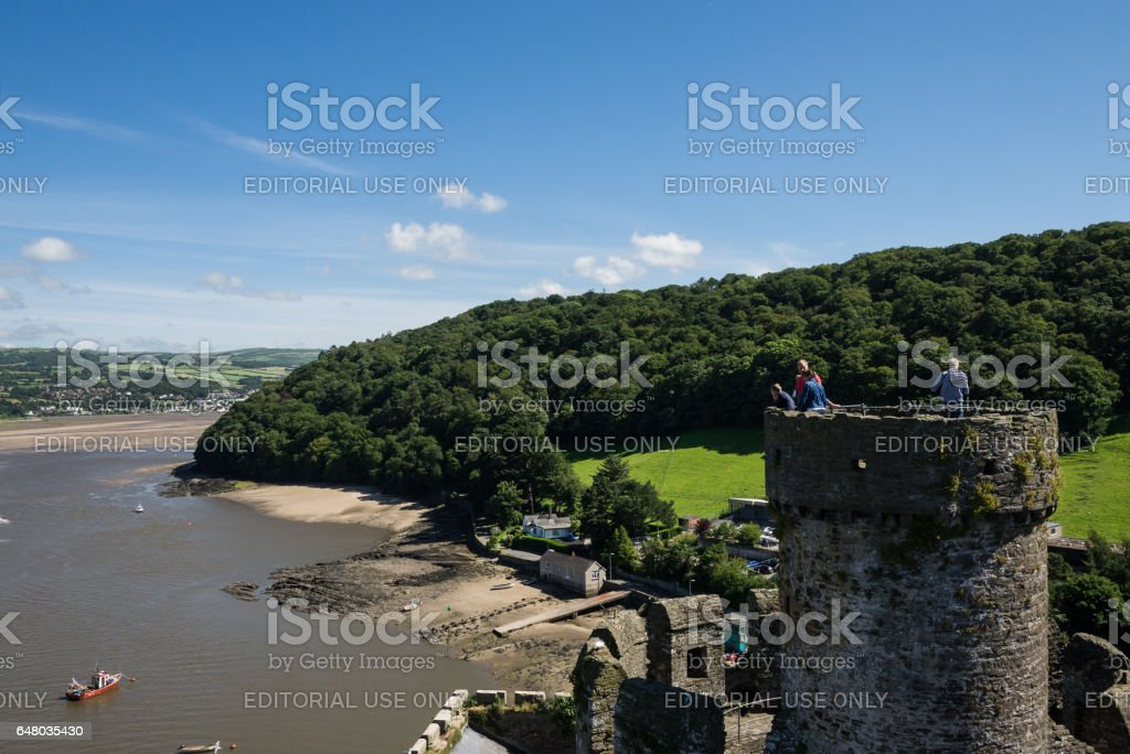 View on Conwy hills and river from the medieval castle stock photo