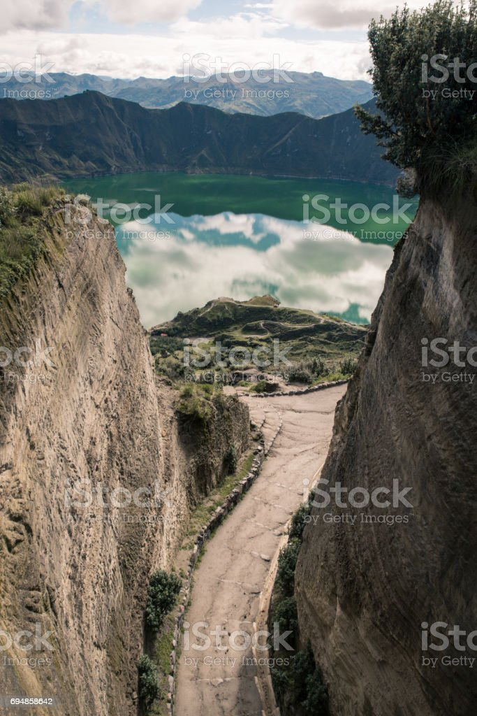 view on crater lake at quilotoa loop stock photo