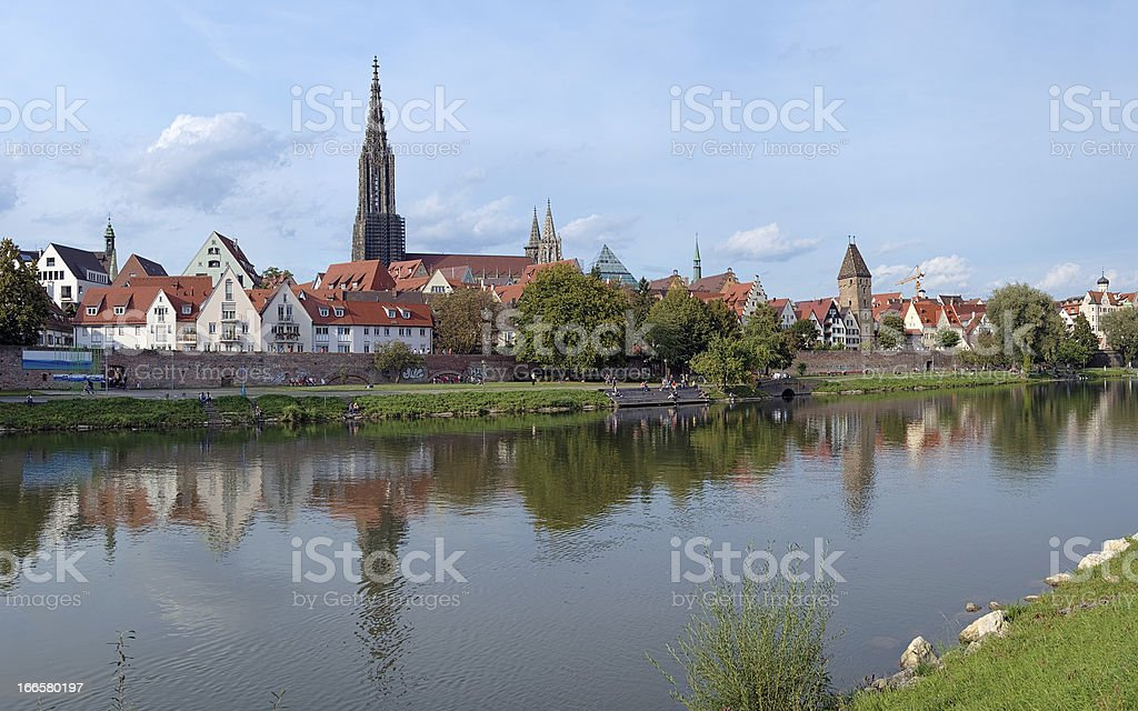 View on Danube River and Ulm Minster, Germany royalty-free stock photo