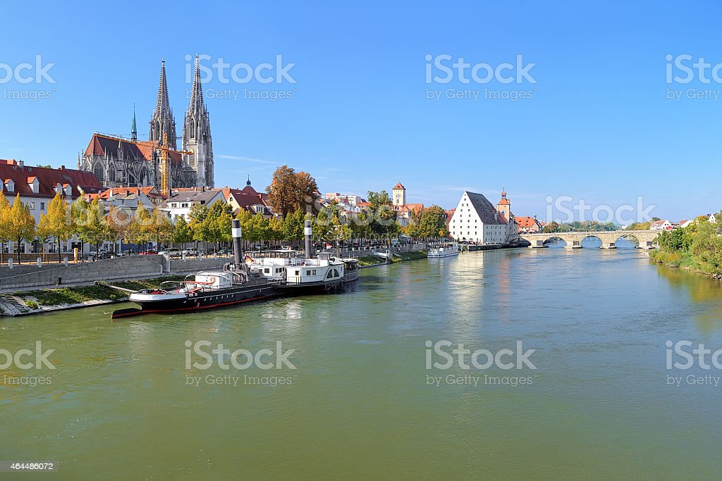 View on Danube river with Regensburg Cathedral, Germany stock photo