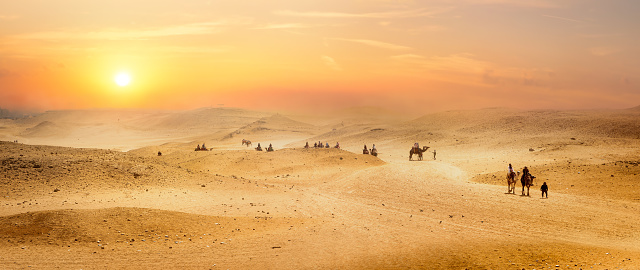 View on desert with mountains at surise, Egypt