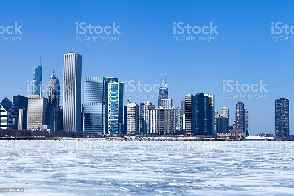 View on downtown Chicago (Winter) royalty-free stock photo