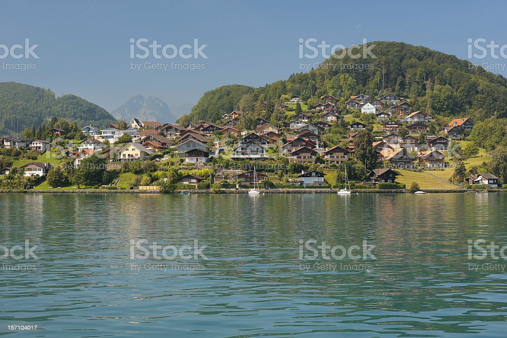 View on Egg and Faulensee from Thun Lake royalty-free stock photo