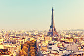 View on Eiffel tower at sunset, Paris, France