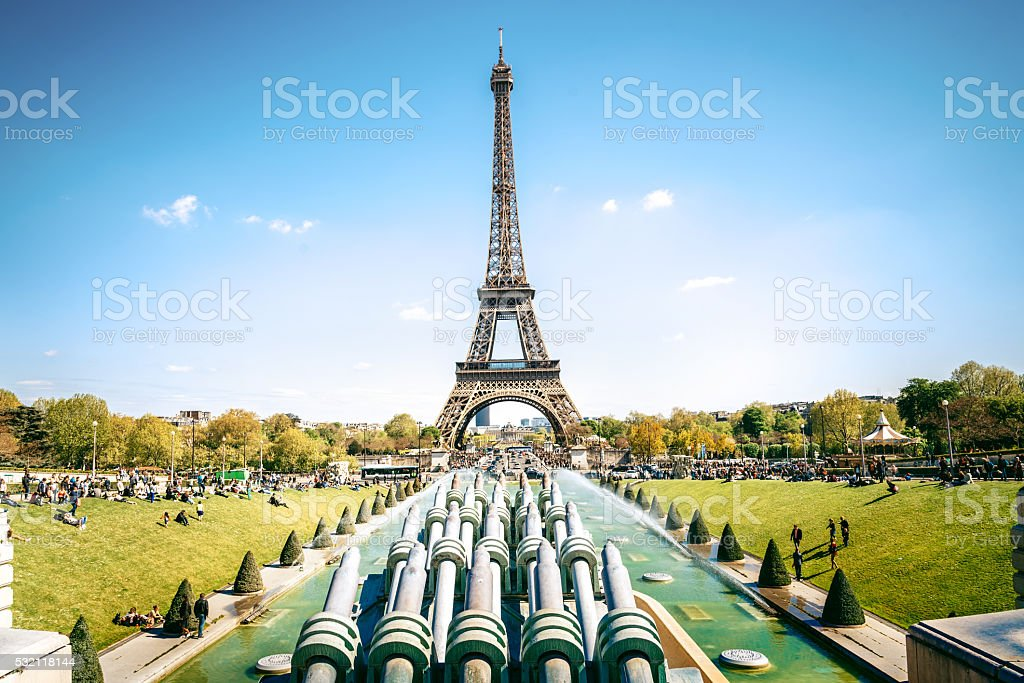 view on Eiffel Tower from Trocadero Terrace stock photo