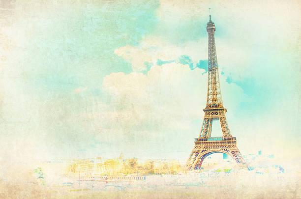 vista a la torre eiffel en parís, francia - moda parisina fotografías e imágenes de stock