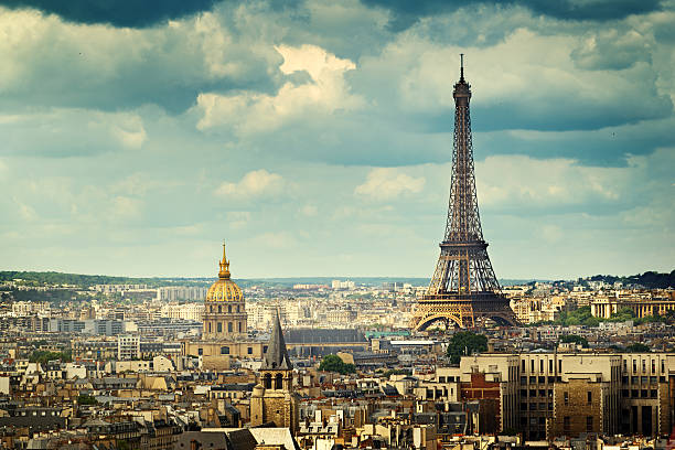 View on Eiffel Tower, Paris, France stock photo