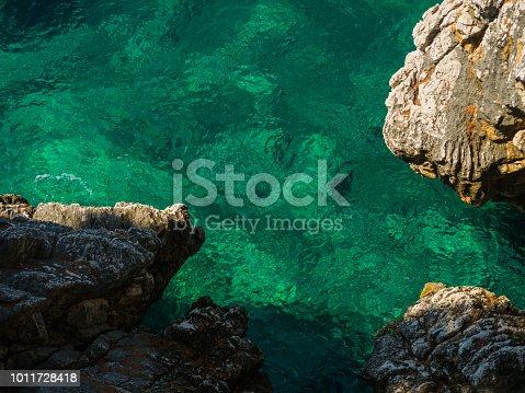 istock View on emerald water between rocks 1011728418