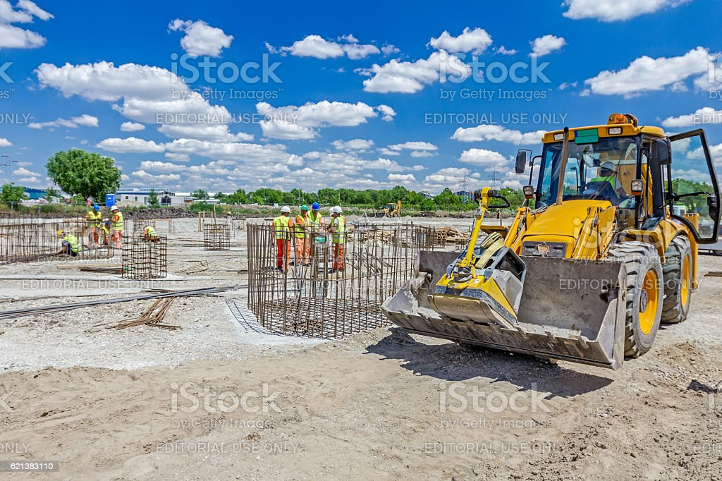 View on excavator at the building site. stock photo