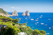 View on Faraglioni rocks from Capri island, Italy