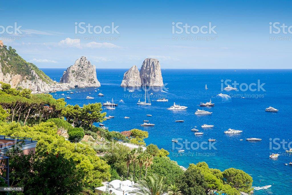 View on Faraglioni rocks from Capri island, Italy stock photo