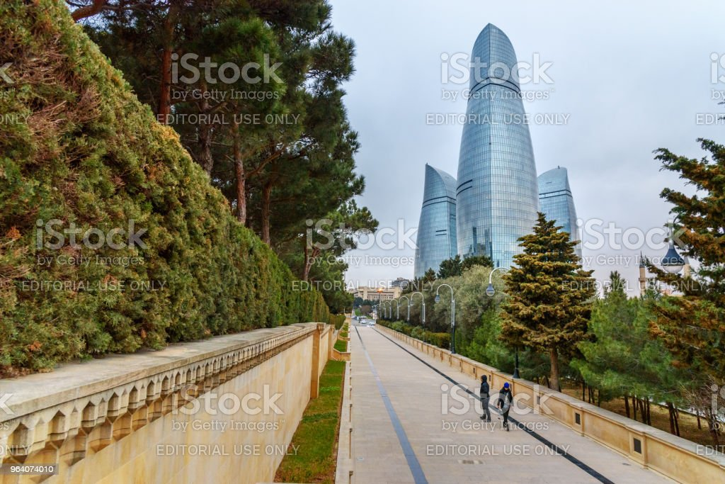 View on Flame Towers from parkin the evening. Baku, Azerbaijan - Royalty-free Architecture Stock Photo