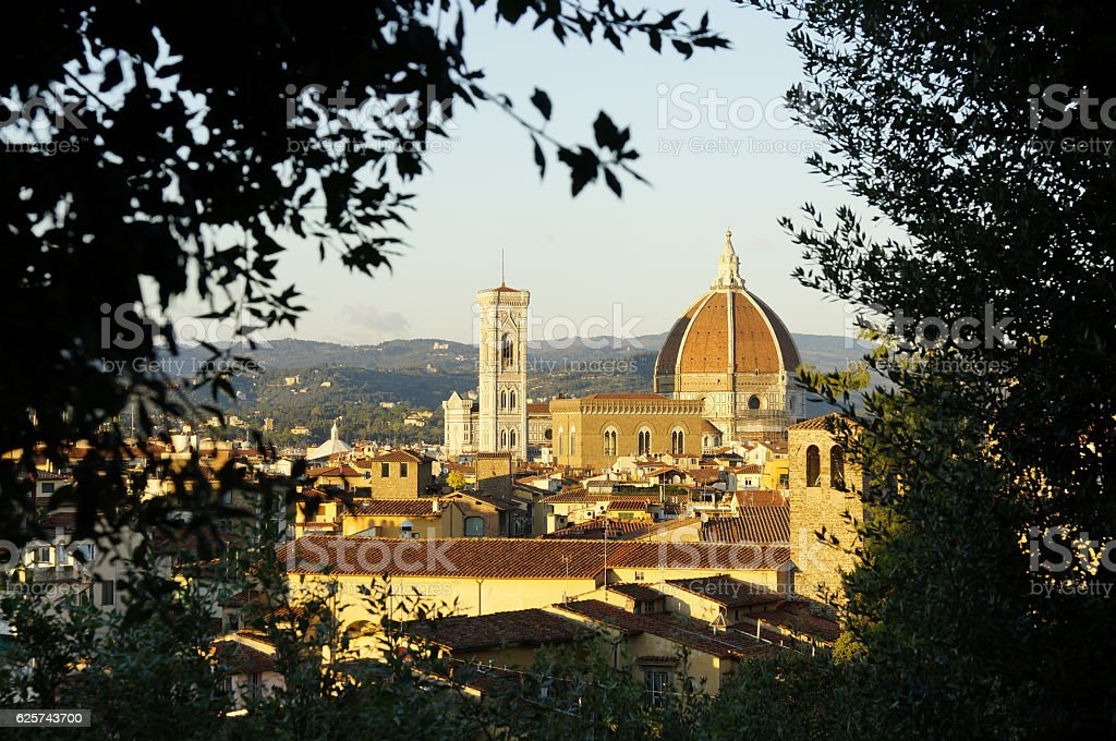 view on Florence cathedral from the Boboli-Gardens stock photo