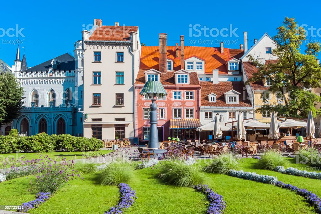 View on flowered beautiful Livu square in old Riga city stock photo