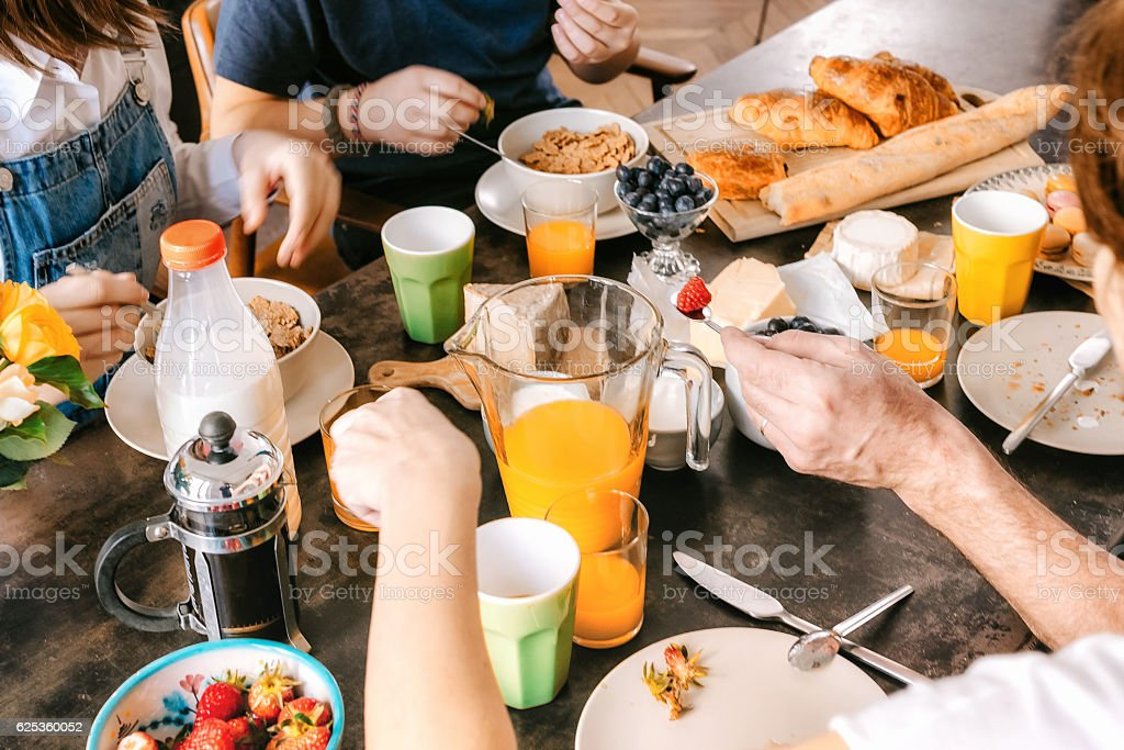 view on french family breakfast table stock photo