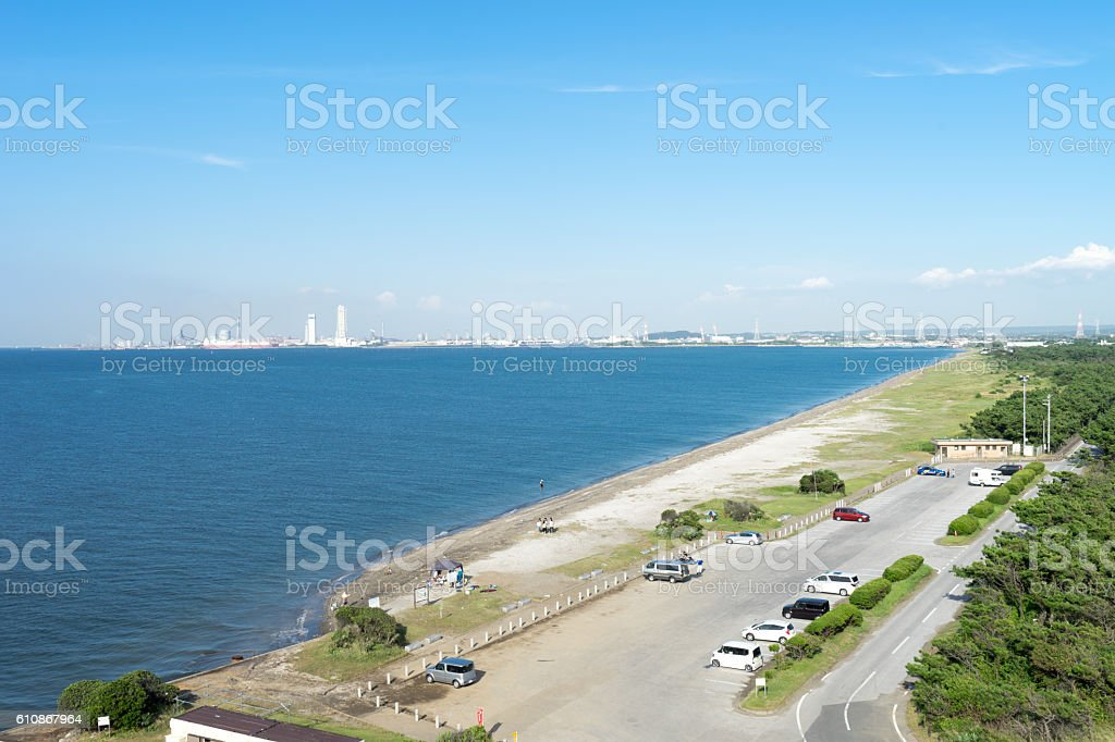 View on Futtu cape from Futtsumisaki observatory in Chiba, Japan stock photo