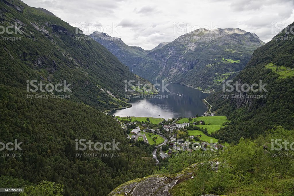 View on Geiranger valley and fjord royalty-free stock photo
