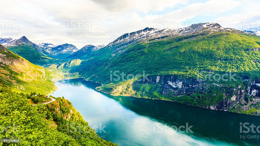 View on Geirangerfjord from Flydasjuvet viewpoint Norway stock photo