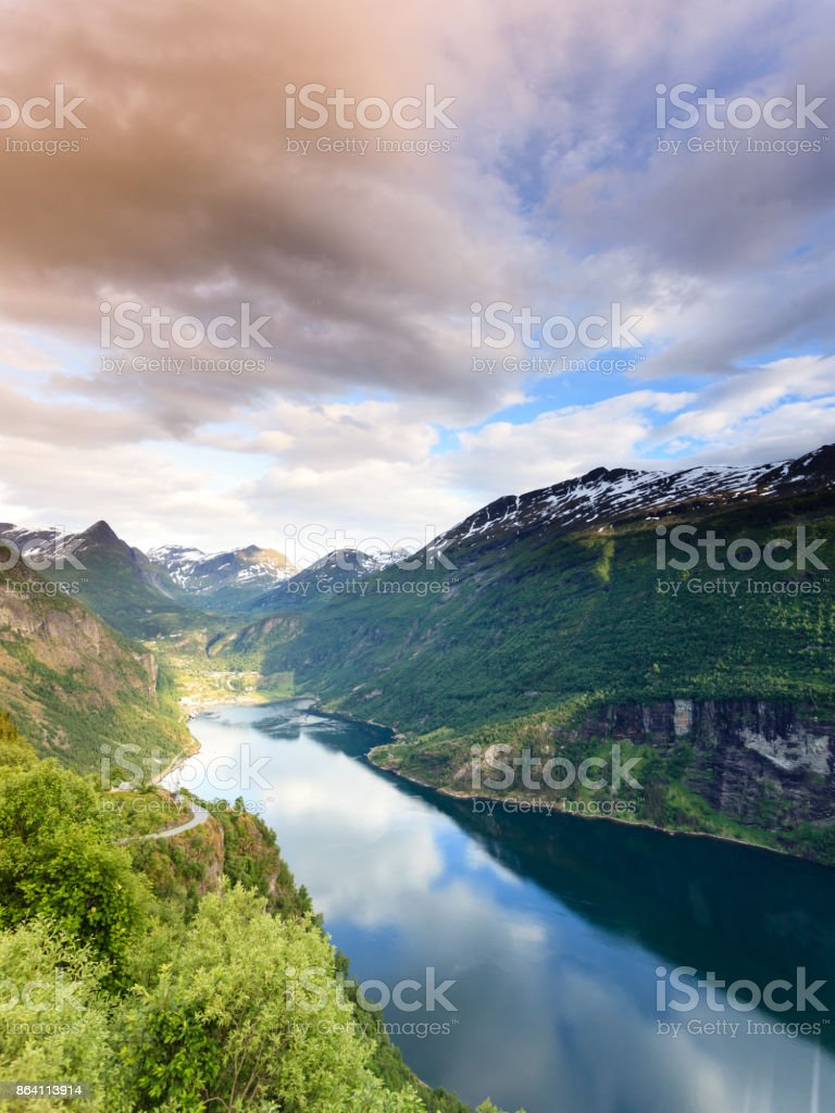 View on Geirangerfjord from Flydasjuvet viewpoint Norway royalty-free stock photo