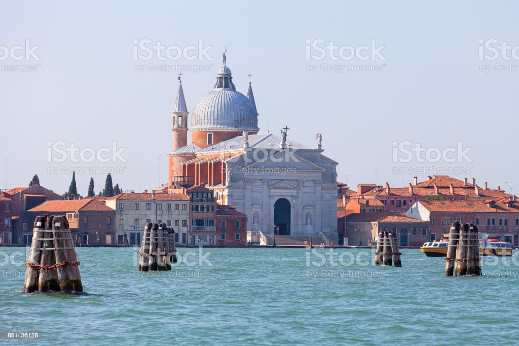 View on Giudecca island with 16th century Roman Catholic Il Redentore church, Venice, Italy. stock photo