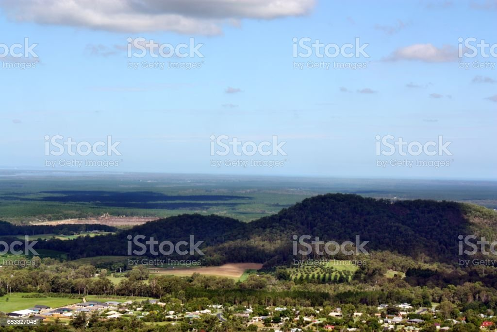 View on Glass House Mountains royalty-free stock photo