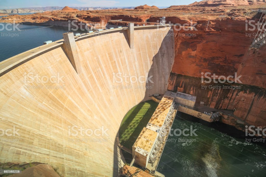 View on Glen Canyon dam in Arizona stock photo