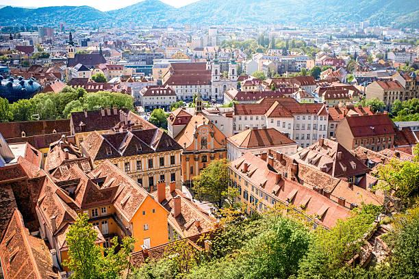 view on graz city - stadt graz stock-fotos und bilder