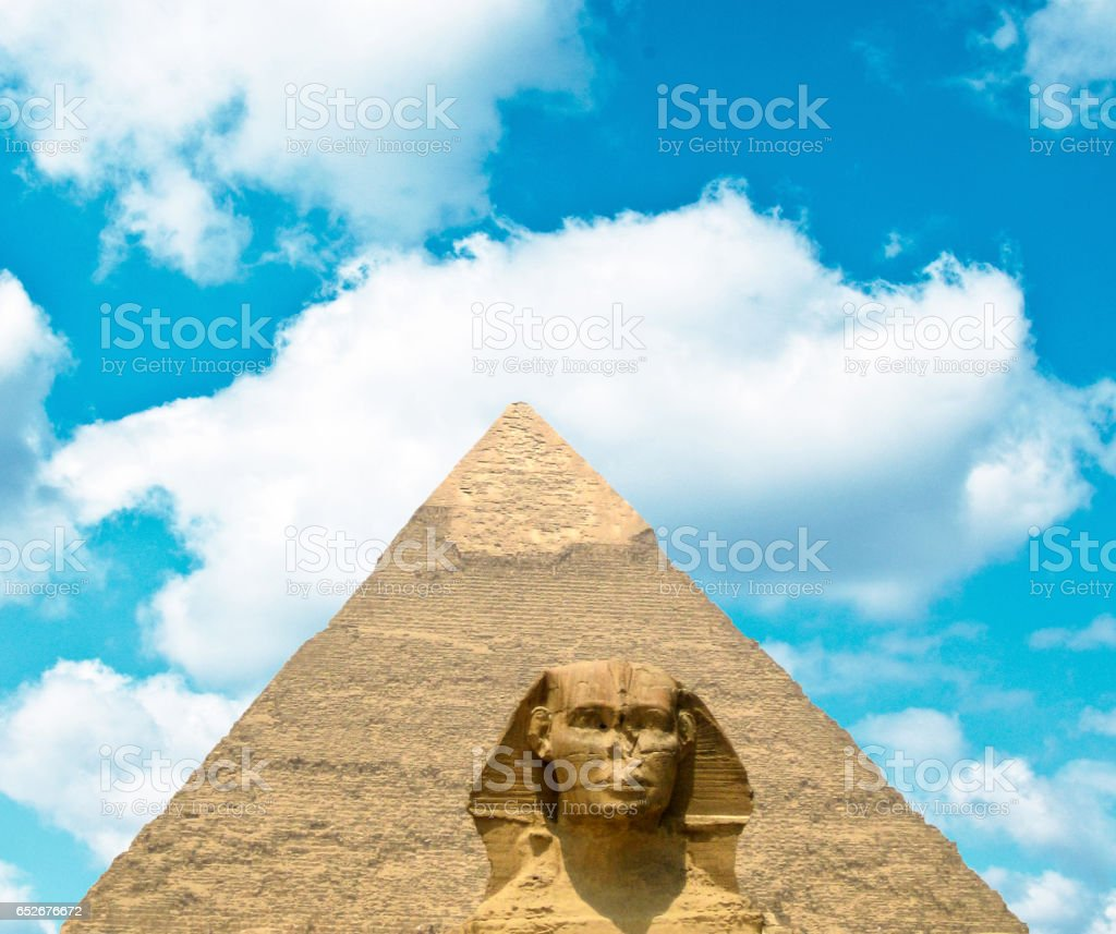 View on Great Sphinx and Khafre pyramid of Giza - Egypt stock photo