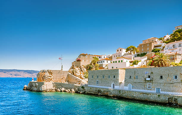 View on greek island Idra (Hydra) at sunny summer day View on greek island Idra (Hydra) at sunny summer day rymdraket stock pictures, royalty-free photos & images