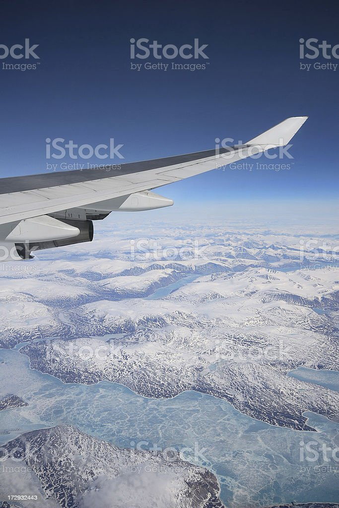 View on Greenland from airplane stock photo