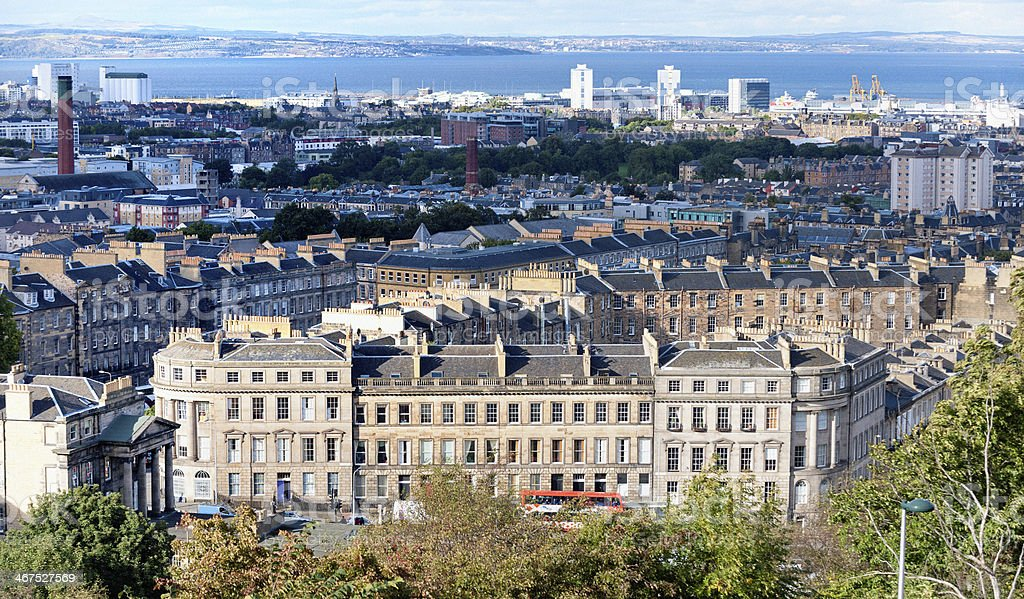 view on Greenside row from Calton hill, Edinburgh stock photo
