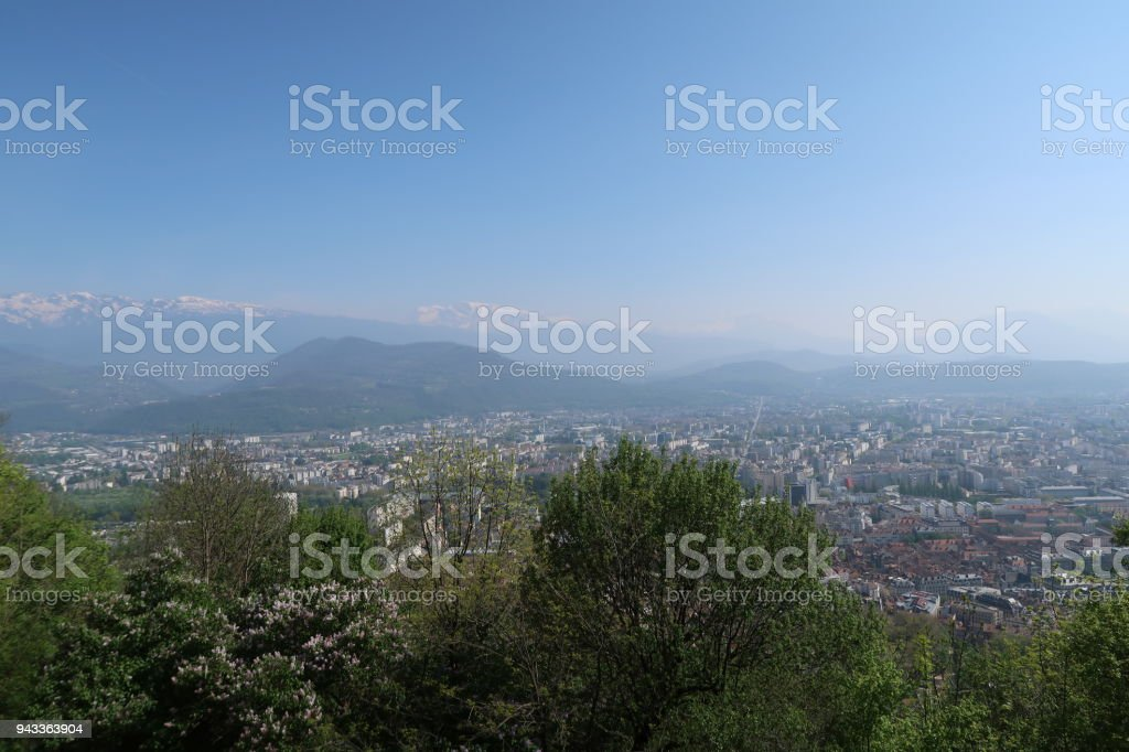 View on Grenoble from the Bastille, France stock photo