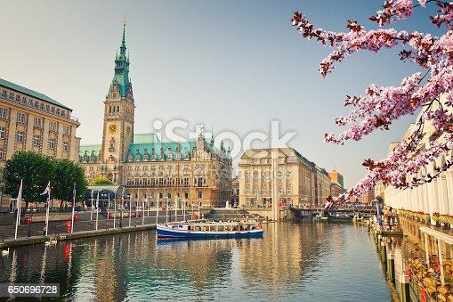istock View on Hamburg townhall at spring 650696728