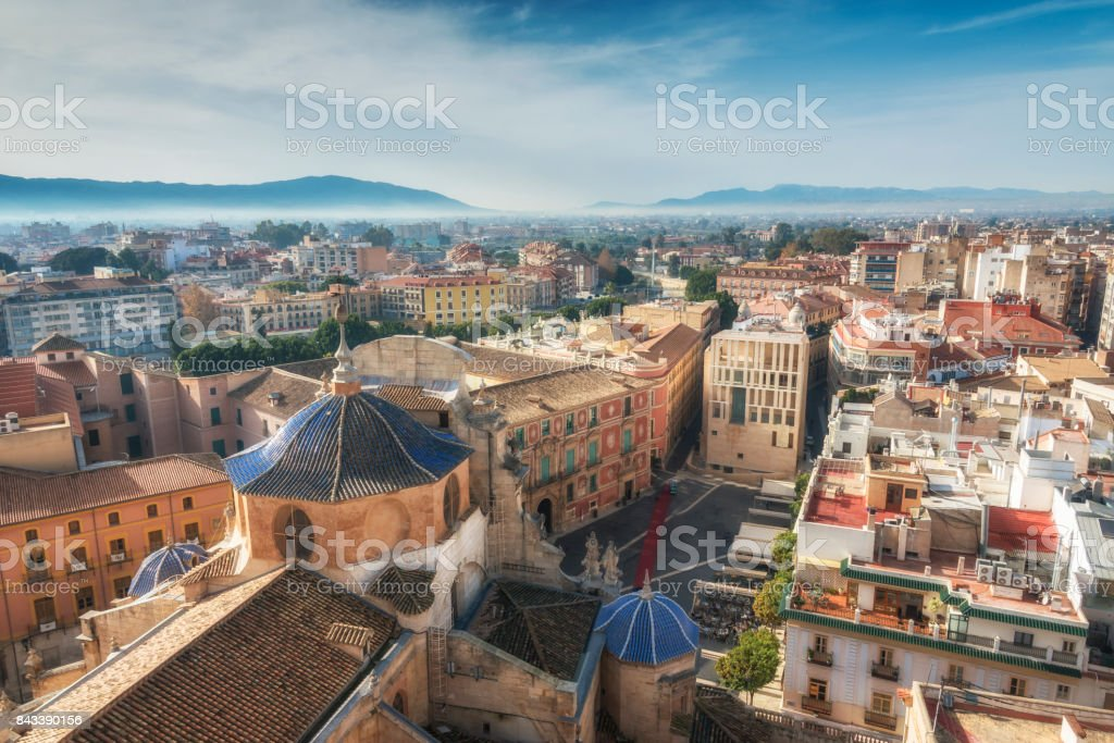View on historical center of Murcia from Cathedral Church of Saint Mary, Spain. stock photo