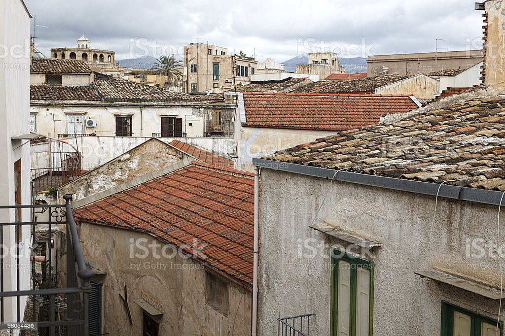 View on house roofs in narrow street royalty-free stock photo