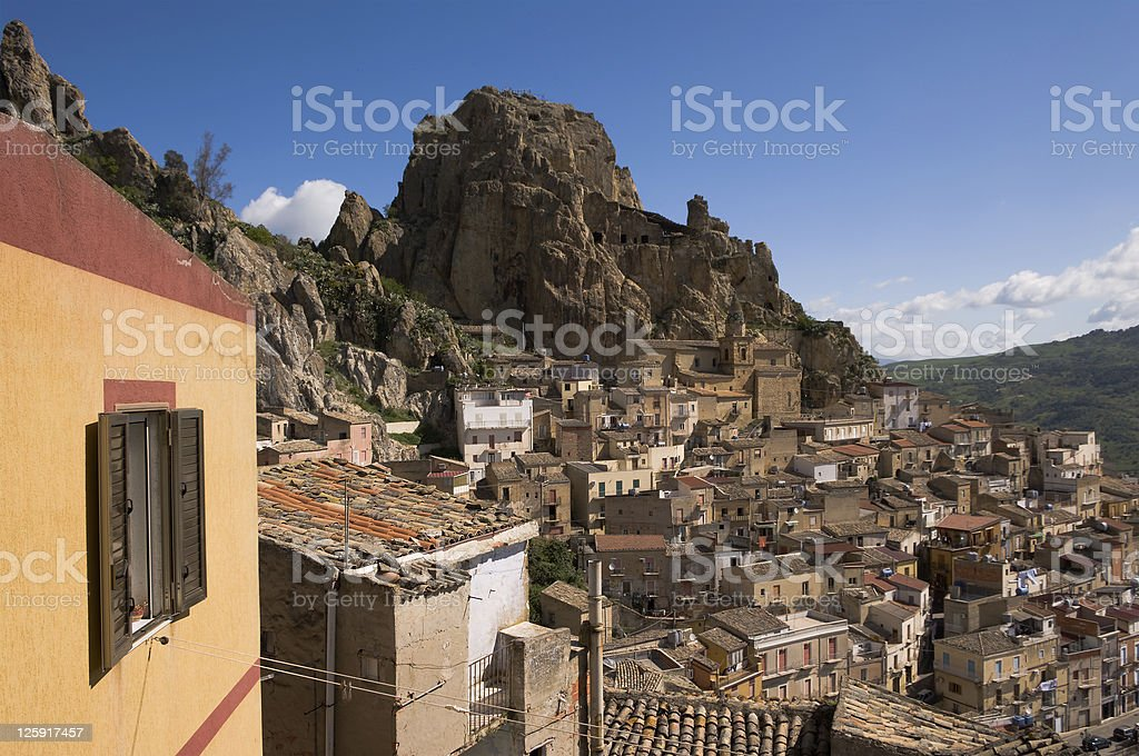 View on houses rocky of village in Sicily royalty-free stock photo