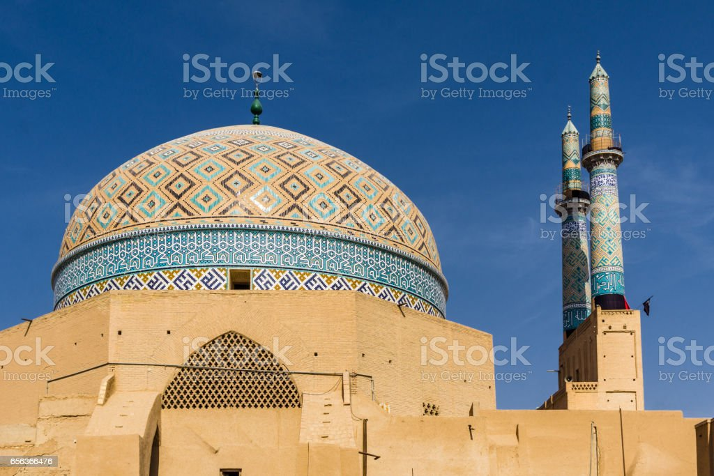 view on Jami mosque in Yazd -Iran stock photo