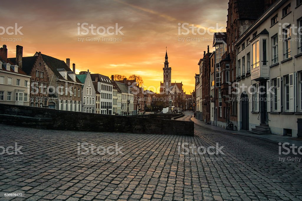 View on Jan Van Eyck Square in Bruges, Belgium - Photo