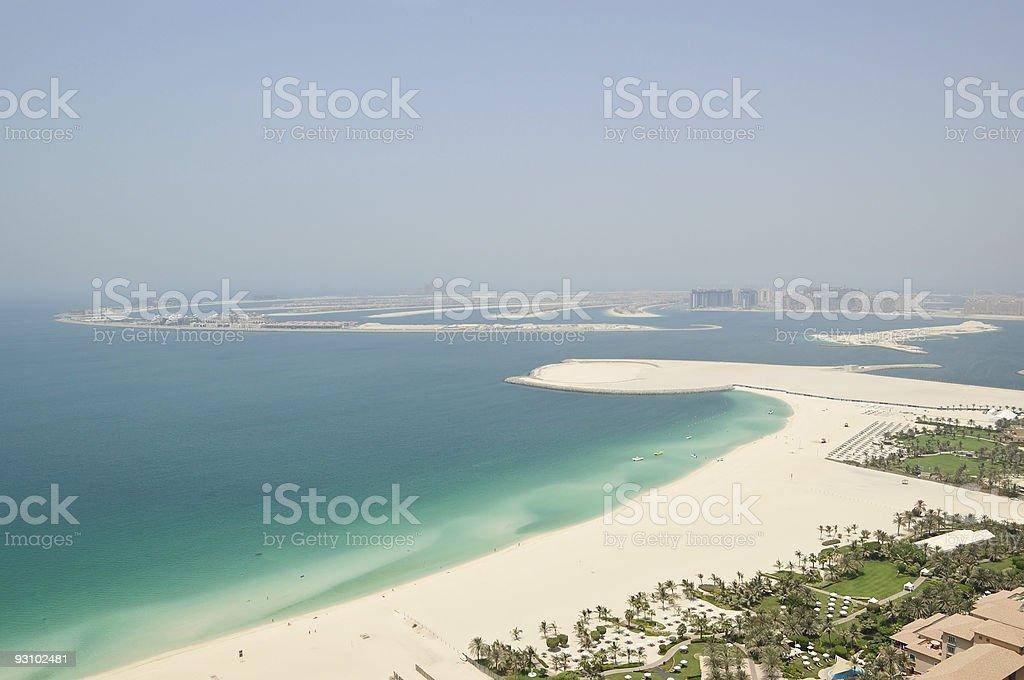 View on Jumeirah Palm artificial island, Dubai, UAE stock photo