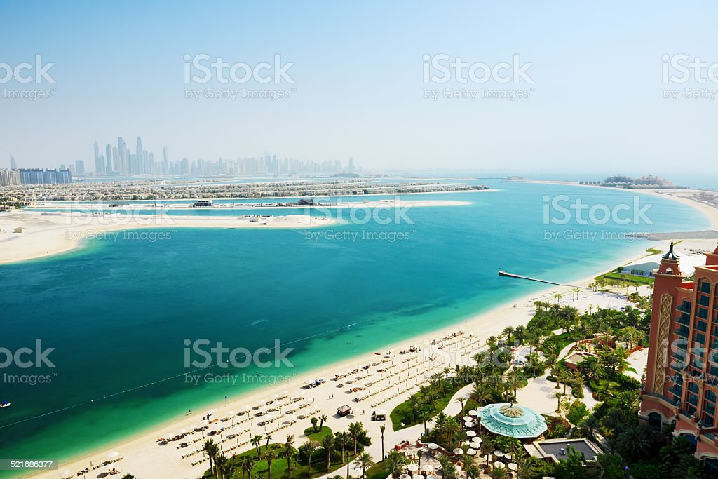View on Jumeirah Palm man-made island, Dubai, UAE stock photo