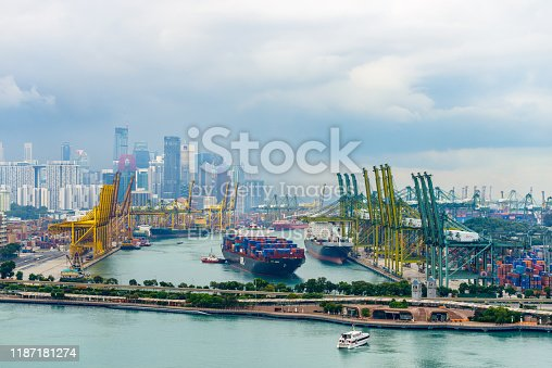 Singapore - Circa January 2016: View on Keppel Harbour and the city skyline from Singapore cable car.