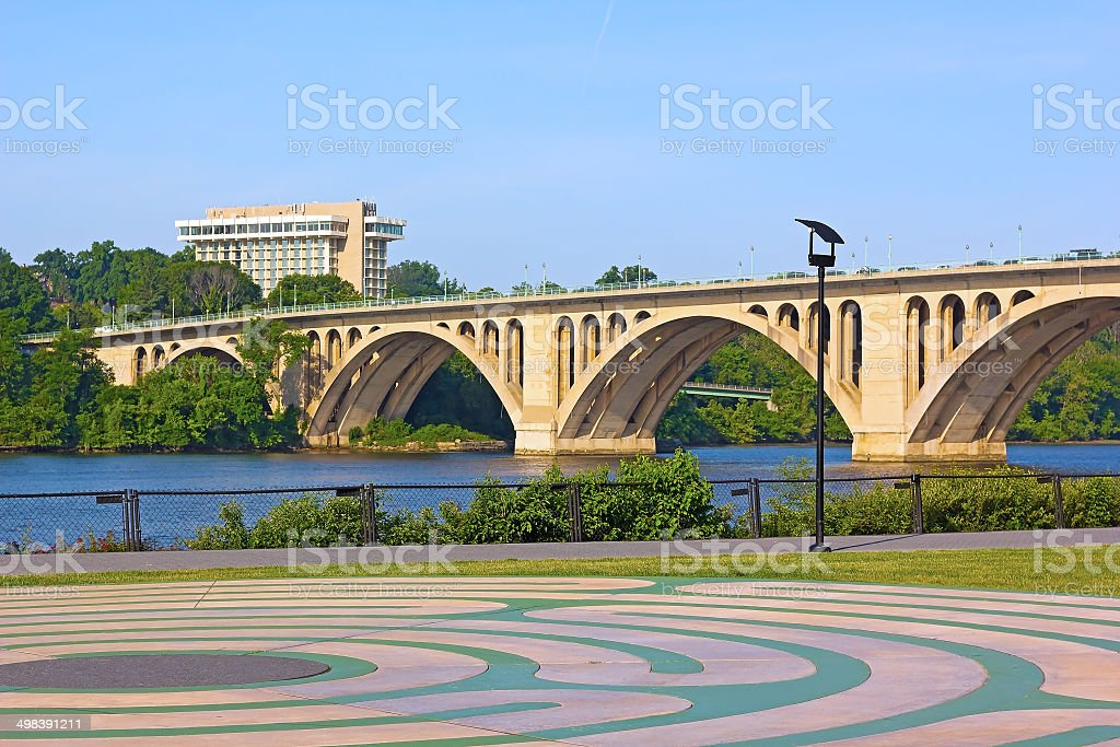 View on Key Bridge from Georgetown Park. stock photo