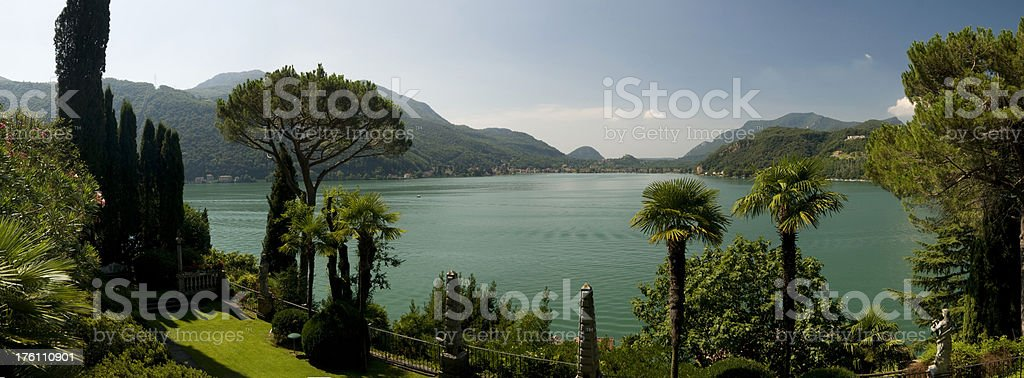 View on Lago di Lugano royalty-free stock photo