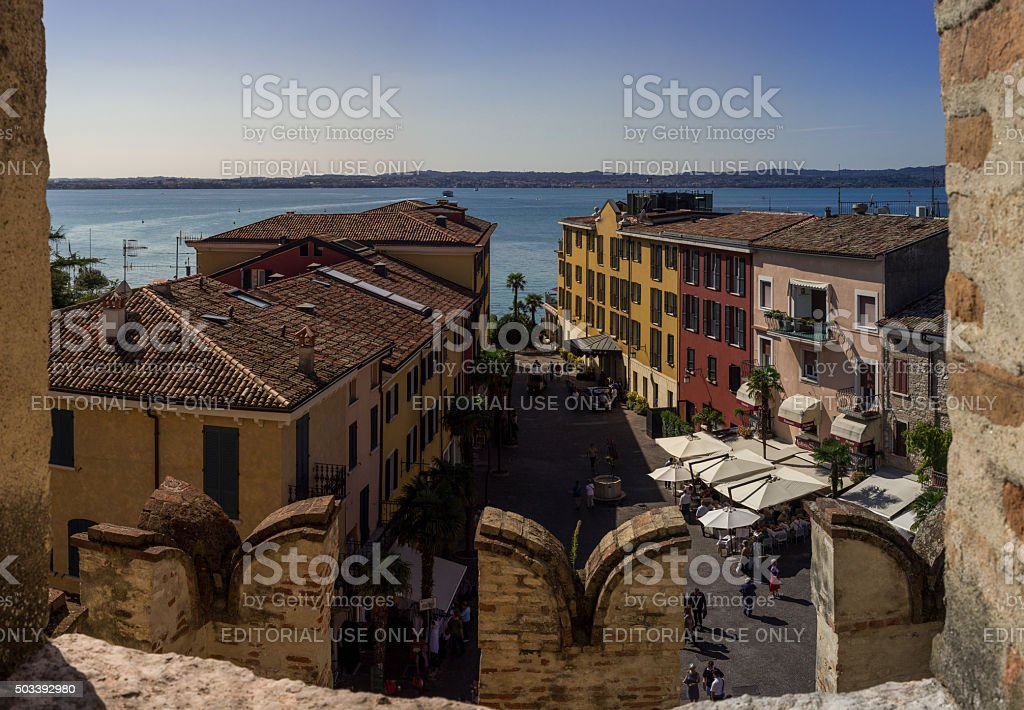 View on Lake Garda and Sirmione Old city in Italy stock photo
