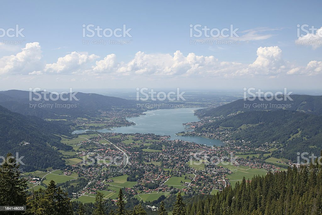 View on Lake Tegernsee from the mountain Wallberg stock photo
