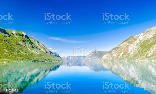 View on landscape of beautiful Sognefjord in Norway