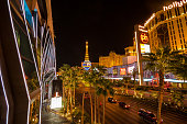 View on the Las Vegas strip at night from bridge