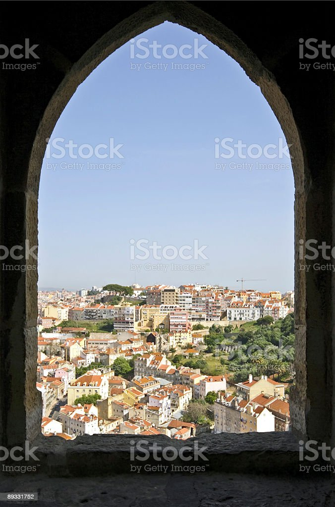View on Lisbon through an old castle wall stock photo