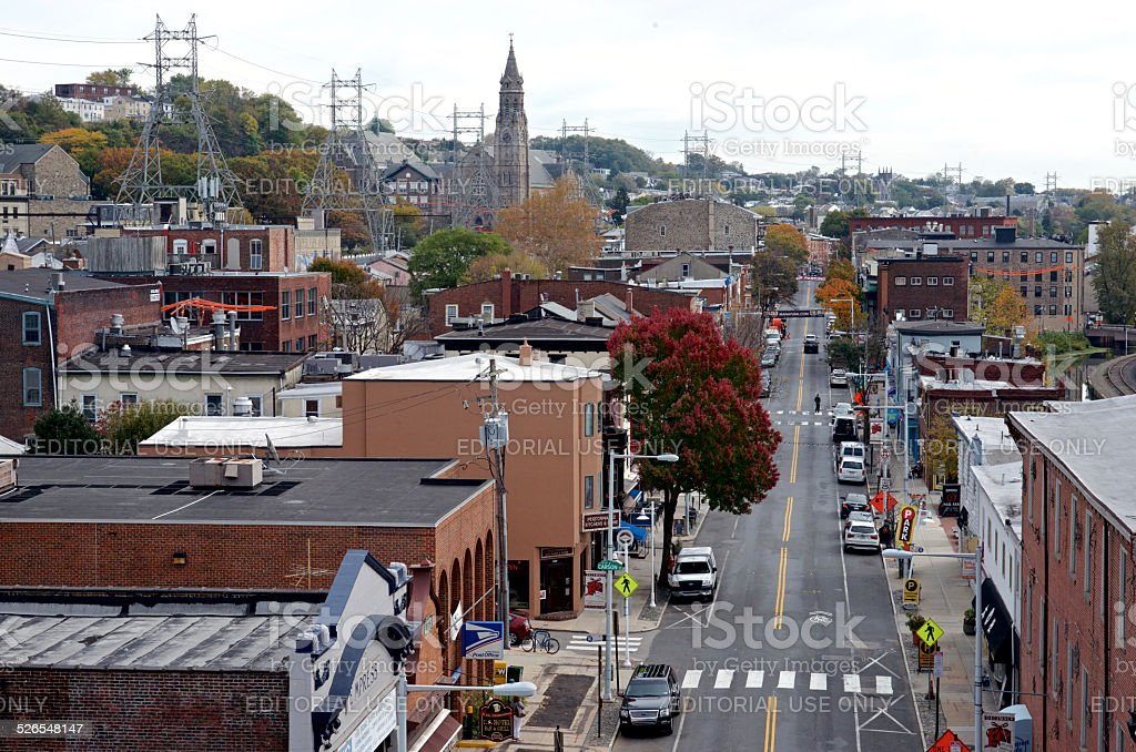 View on Manayunk Main Street in Philadelphia stock photo